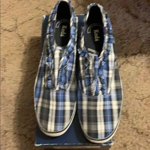 Keds blue plaid sneakers with ruffle design